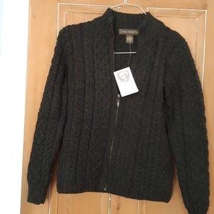 Irish deep green zip up sweater
